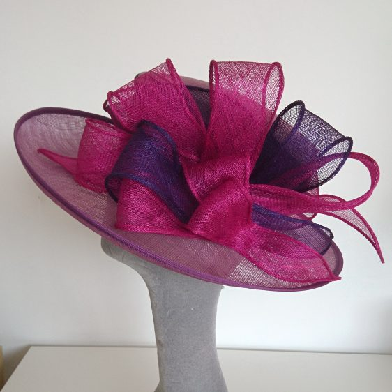 Purple Sinamay Hat Re-trim Project After - back