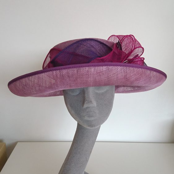 Purple Sinamay Hat Re-trim Project After - front