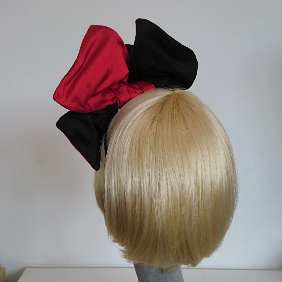 Wired Red and Black Silk Headpiece - back