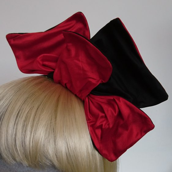 Wired Red and Black Silk Headpiece - detail