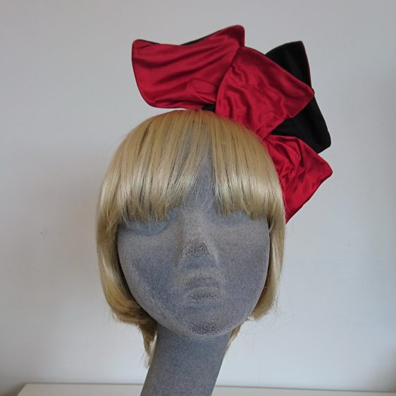 Wired Red and Black Silk Headpiece - front