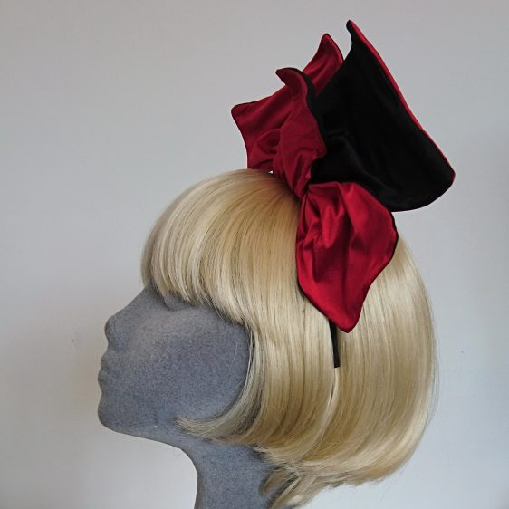Wired Red and Black Silk Headpiece - side