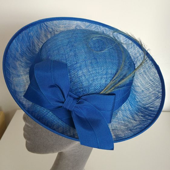 Royal Blue Sinamay Hat with Ribbon Bow and Curled Feathers - detail
