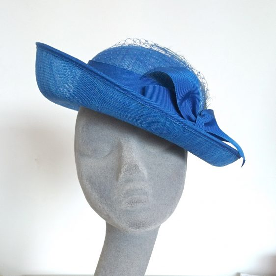 Royal Blue Sinamay Hat with Ribbon Bow and Curled Feathers - front