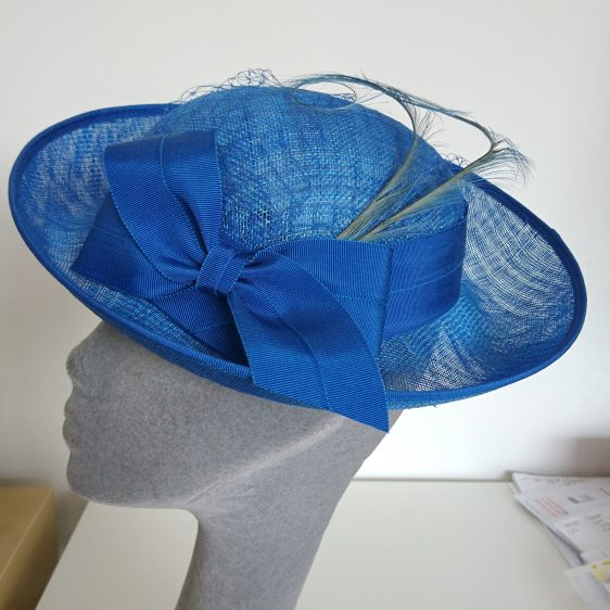 Royal Blue Sinamay Hat with Ribbon Bow and Curled Feathers - side