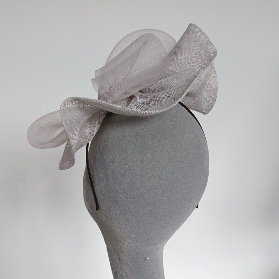 Silver Grey Sinamay and Crinoline Fascinator - back
