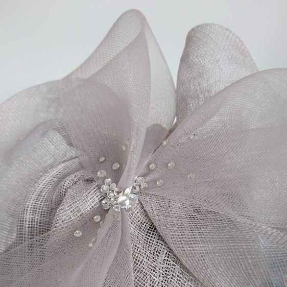 Silver Grey Sinamay and Crinoline Fascinator - detail