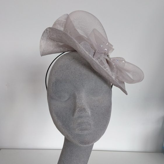 Silver Grey Sinamay and Crinoline Fascinator - front