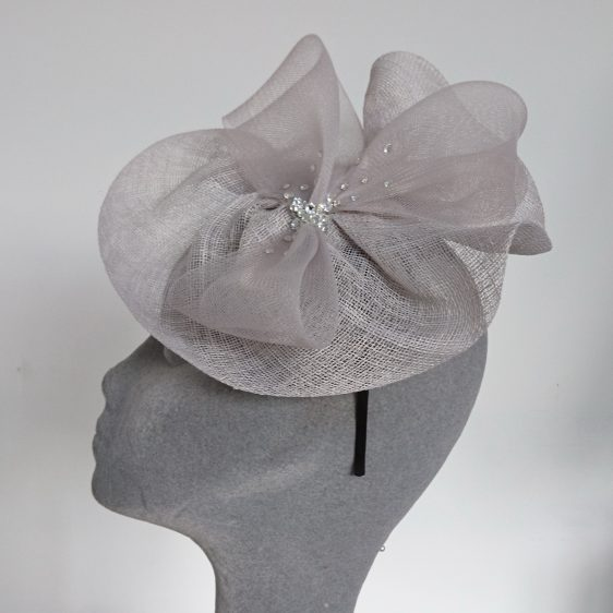 Silver Grey Sinamay and Crinoline Fascinator - side