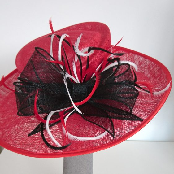 Red Sinamay Hat with Feathers Re-Trim After - detail
