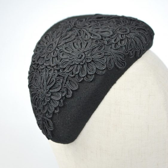 Black Felt Half Hat with Floral Cord Motif - detail 4