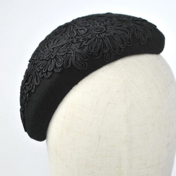 Black Felt Half Hat with Floral Cord Motif - detail 3