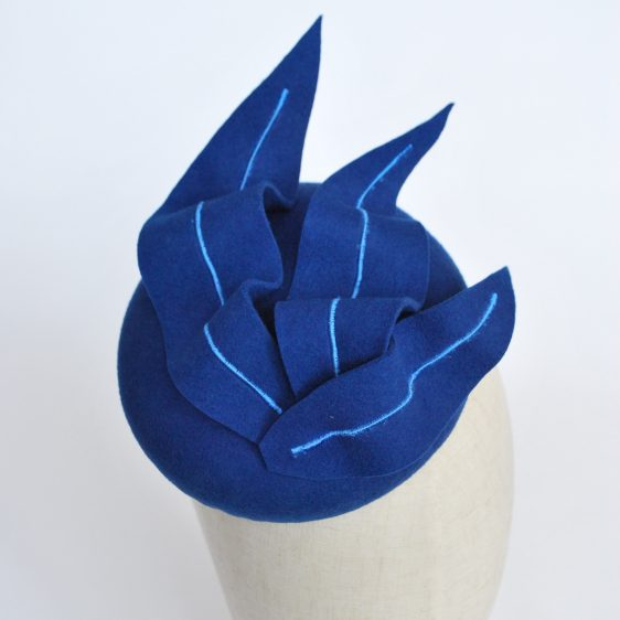 Royal Blue Felt Button Hat with Faux Feathers - detail 2