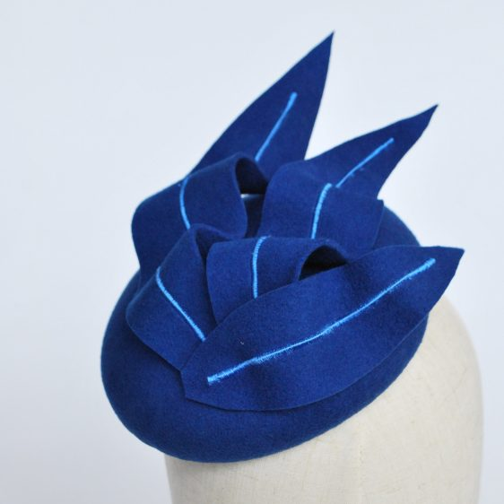 Royal Blue Felt Button Hat with Faux Feathers - detail