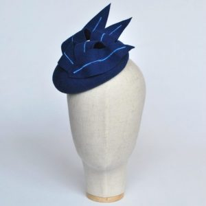 Royal Blue Felt Button Hat with Faux Feathers - front