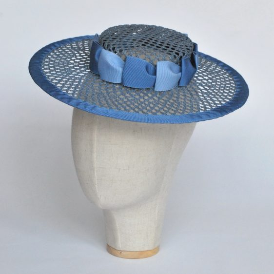 Blue Woven Boater Hat with Two Tone Ribbon Trim - angle