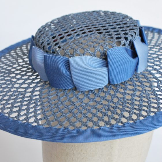 Blue Woven Boater Hat with Two Tone Ribbon Trim - detail 2
