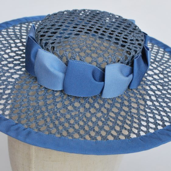 Blue Woven Boater Hat with Two Tone Ribbon Trim - detail
