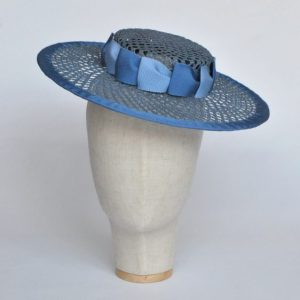Blue Woven Boater Hat with Two Tone Ribbon Trim - front left