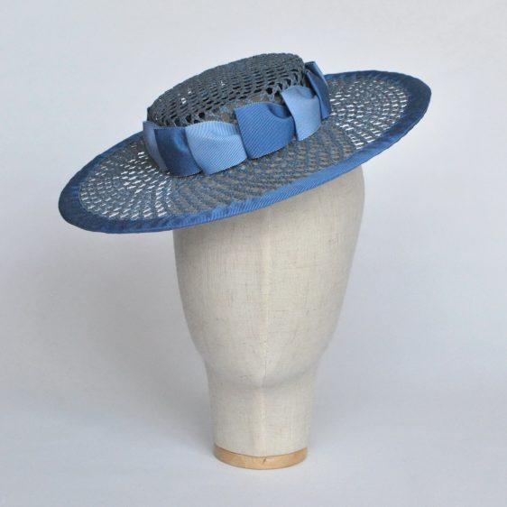 Blue Woven Boater Hat with Two Tone Ribbon Trim - front right