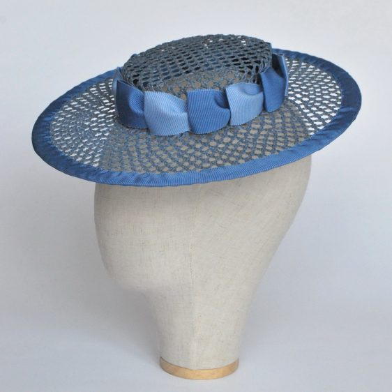 Blue Woven Boater Hat with Two Tone Ribbon Trim - side