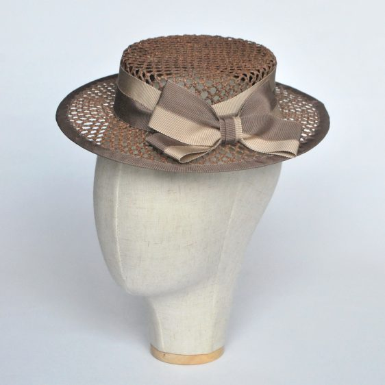 Taupe Woven Boater Hat with Two Tone Ribbon Bow - angle
