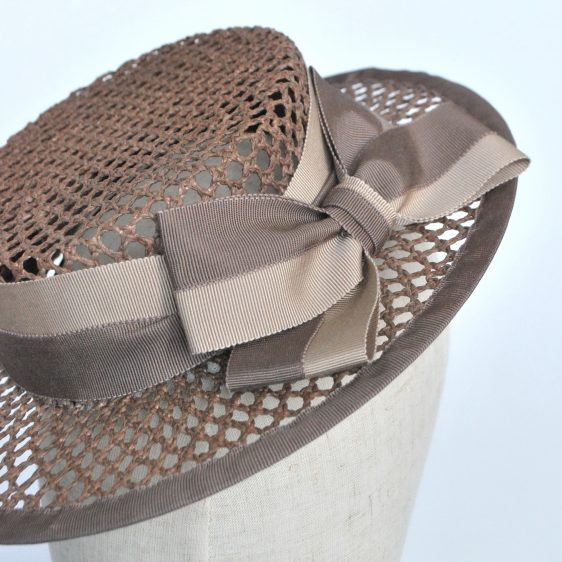 Taupe Woven Boater Hat with Two Tone Ribbon Bow - detail