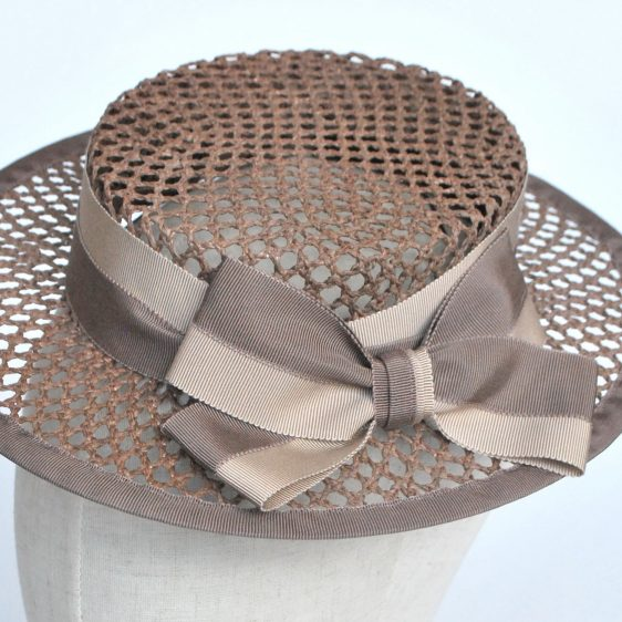Taupe Woven Boater Hat with Two Tone Ribbon Bow - detail 2