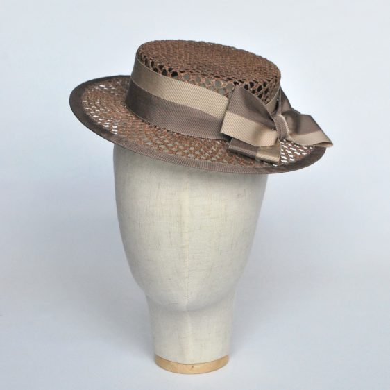 Taupe Woven Boater Hat with Two Tone Ribbon Bow - front left