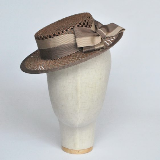 Taupe Woven Boater Hat with Two Tone Ribbon Bow - front right