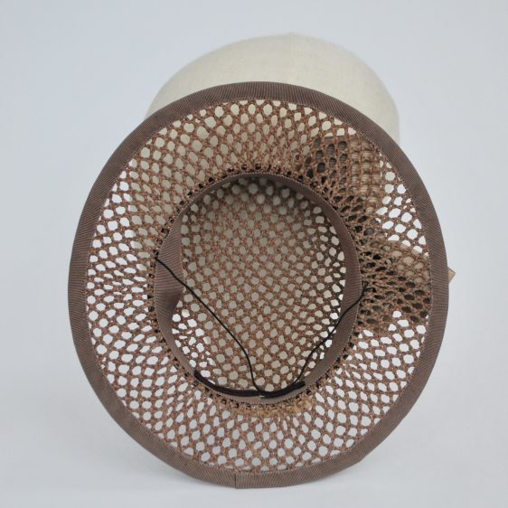 Taupe Woven Boater Hat with Two Tone Ribbon Bow - inside