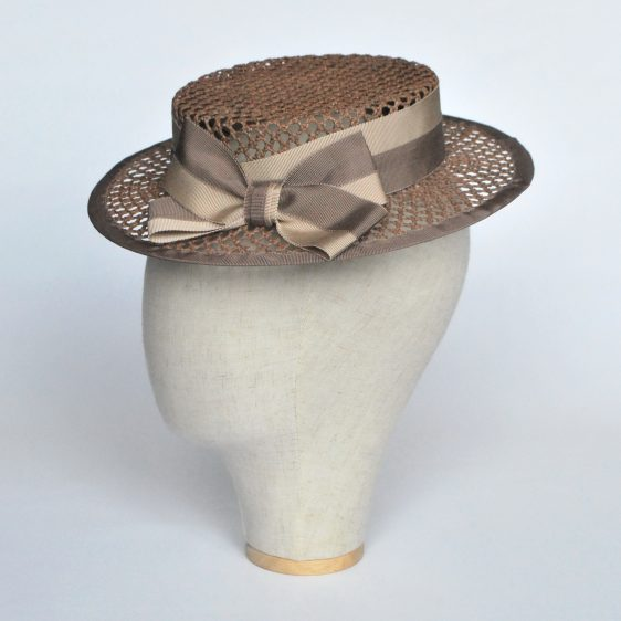Taupe Woven Boater Hat with Two Tone Ribbon Bow - side
