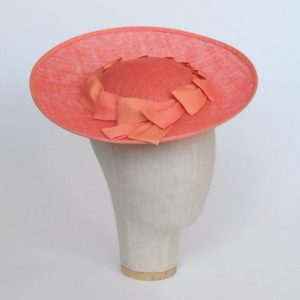 Coral Sinamay Brimmed Hat with Petersham Ribbon Trim - angle
