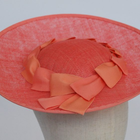 Coral Sinamay Brimmed Hat with Petersham Ribbon Trim - detail