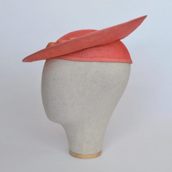 Coral Sinamay Brimmed Hat with Petersham Ribbon Trim - other side