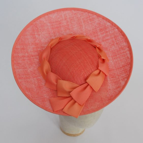 Coral Sinamay Brimmed Hat with Petersham Ribbon Trim - top