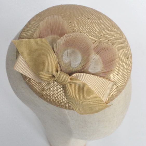 Gold Straw Button Hat Ribbon Bow Peacock Feathers - detail 2