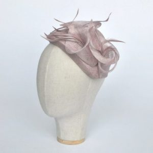Lilac Sinamay Half Hat with Lily Flowers and Feathers - angle 2