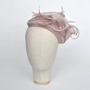 Lilac Sinamay Half Hat with Lily Flowers and Feathers - front