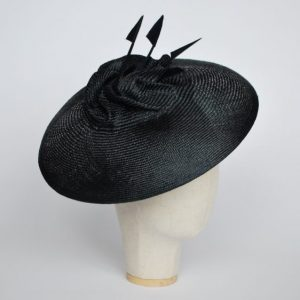 Navy Straw Brimmed Hat with Arrow Feathers - angle