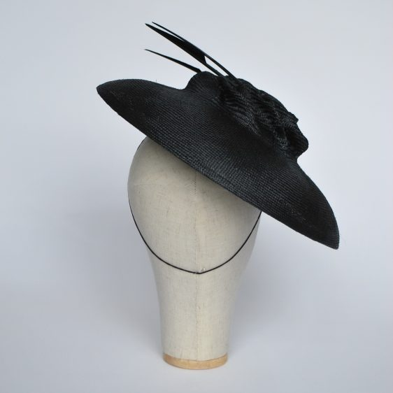Navy Straw Brimmed Hat with Arrow Feathers - back