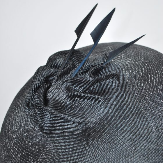 Navy Straw Brimmed Hat with Arrow Feathers - detail 2