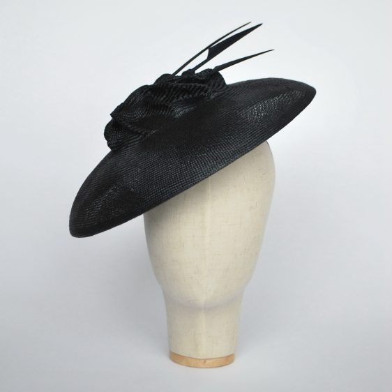 Navy Straw Brimmed Hat with Arrow Feathers - front