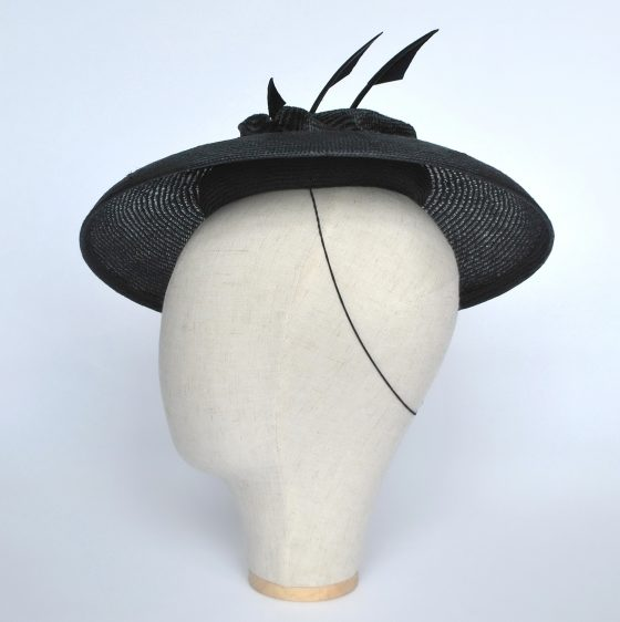 Navy Straw Brimmed Hat with Arrow Feathers - other side