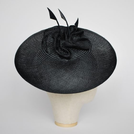 Navy Straw Brimmed Hat with Arrow Feathers - side