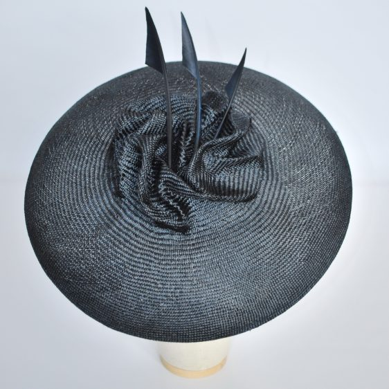 Navy Brimmed Hat with Arrow Feathers - top