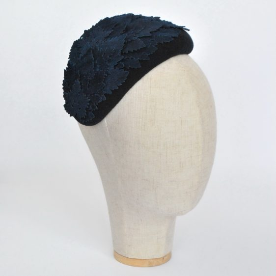 Navy Blue Felt Half Hat with Leather Leaves - angle