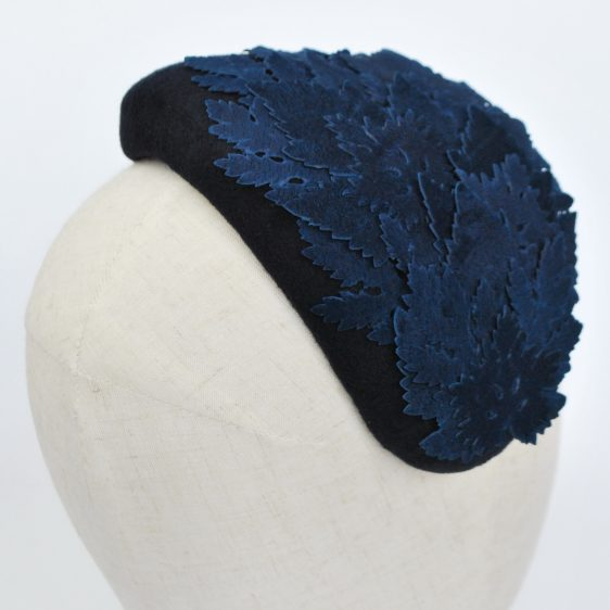 Navy Blue Felt Half Hat with Leather Leaves - back detail