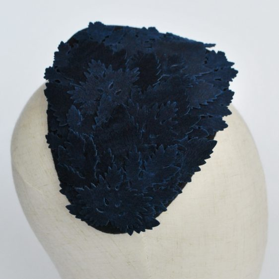 Navy Blue Felt Half Hat with Leather Leaves - detail 2