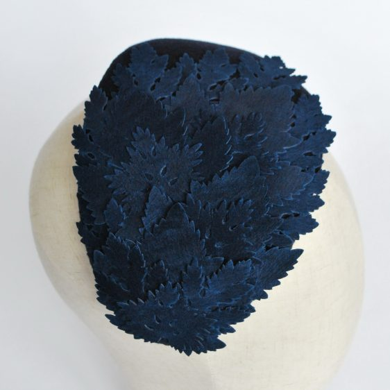 Navy Blue Felt Half Hat with Leather Leaves - detail 4